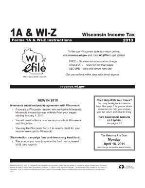 2010 wisconsin income tax form 1a fill