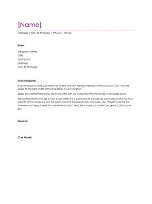 Template Cover Letter For Resume Microsoft by Resume Cover Letter Violet Office Templates