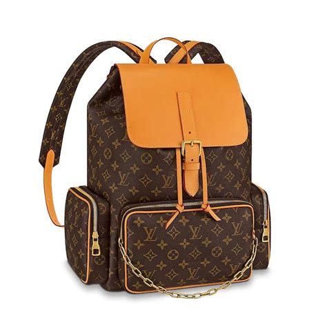 louis vuitton lv men backpack trio  monogram canvas brown lulux
