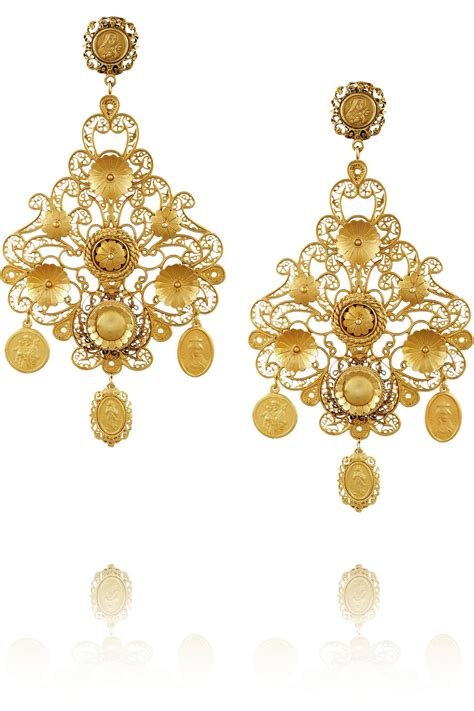 dolce gabbana filigrana gold plated chandelier clip