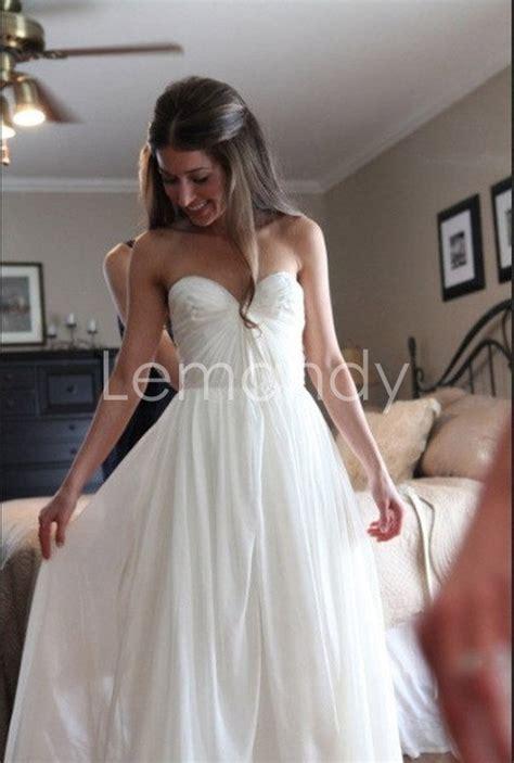beach chiffon casual wedding dress simple strapless