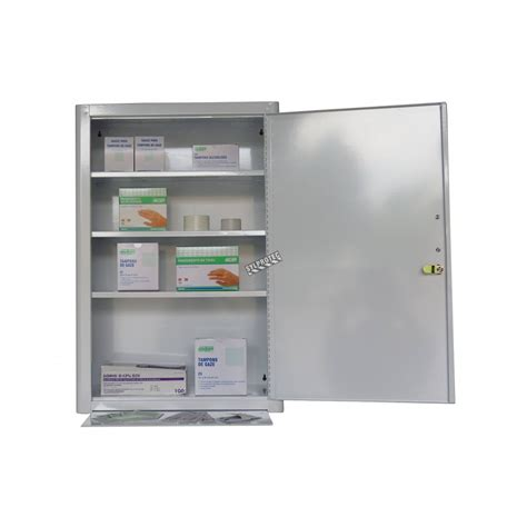 wall mounted metal  aid cabinet  solid panel door