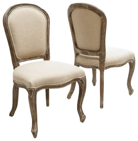 weathered oak armless dining chair set of 2