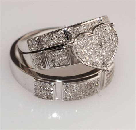 white gold trio wedding engagement ring for his and ebay