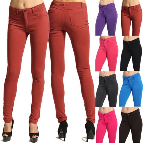 colored jeggings mogan colored knit zipper stretch slim