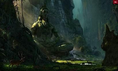 Shiva Lord Wallpapers Nature Landscape Statue Waterfall