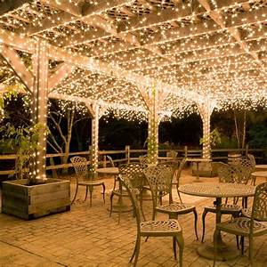 Outdoor led lighting for patios : Hang white icicle lights to create magical outdoor
