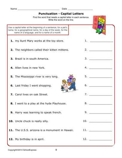 worksheets grammar capital letters