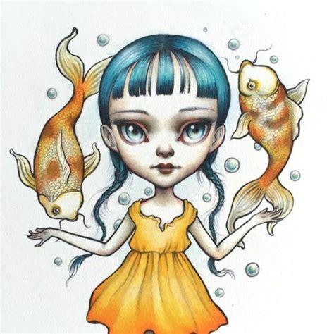 poissons zodiac fille signe lowbrow pop surrealisme de