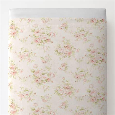 pink floral toddler bed sheet top flat carousel designs