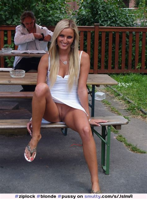 Blonde Pussy Shaved Outdoors Public Flashing