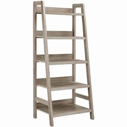 Ladder Bookcase Shelves Grey Walmart Linon