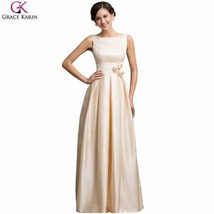 grace karin sexy satin apricot elegant long formal evening With wedding dinner dress