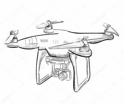 Drone Draw Quadrocopter Sketch Drawing Aereo Fuco