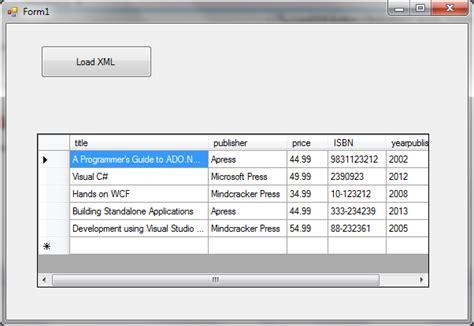 corner display load xml file into a datagridview c
