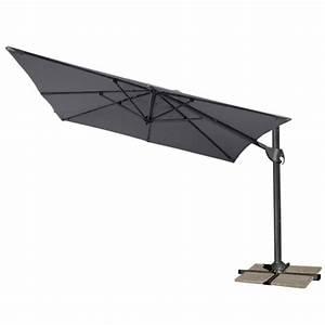 Toile Pour Parasol Déporté : parasol d port carr 3x3 m roma m t aluminium toile anthracite oogarden france ~ Teatrodelosmanantiales.com Idées de Décoration