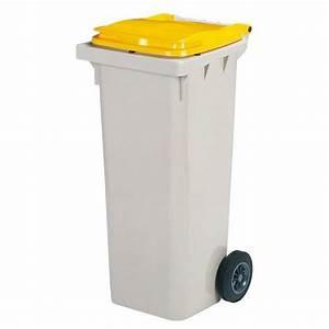 Poubelle 120 Litres : conteneur poubelle korok 2 roues gris jaune capacit 120 ~ Melissatoandfro.com Idées de Décoration