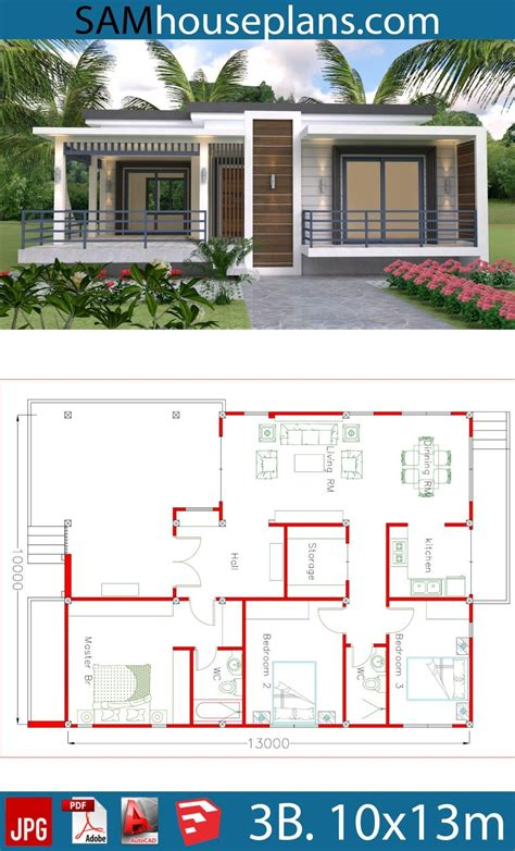 House Plans 10x13m with 3 Bedrooms Sam House Plans