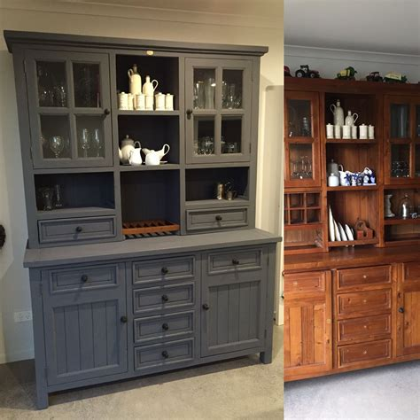 Hutch Painting Ideas by Before And After Hutch Dresser Painted In Newton S Chalk