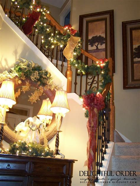 staircase christmas decorating holiday decor pinterest
