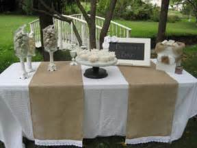 burlap wedding ideas garden outdoor wedding dining table with burlap table runner and white fabric cover plus