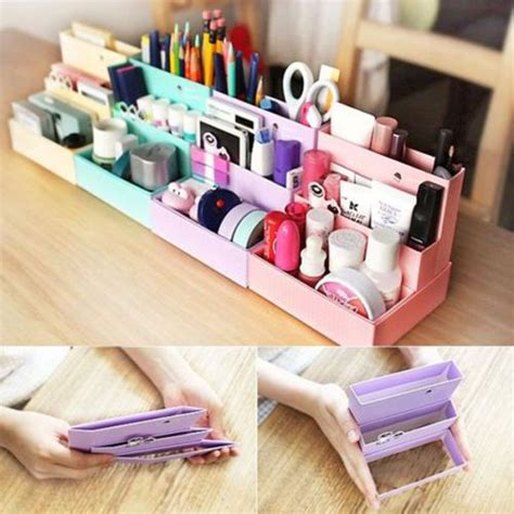diy rangement make up diy folding paper cardboard storage box makeup cosmetic organizer stationery storage boxes