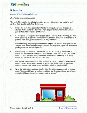 grade subtraction word problem worksheets  learning