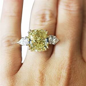 platinum 10ct fancy yellow cushion cut diamond engagement ring With yellow diamond wedding ring