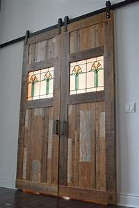 portfolio of end grain woodworking company products With barn door with stained glass