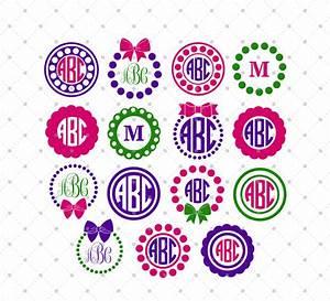 circle monogram frame svg cut files 4 circle monogram With initials design
