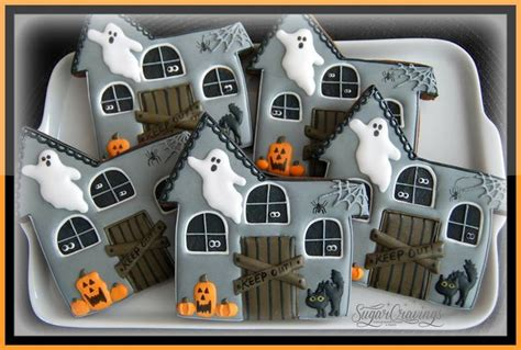 awesomely detailed haunted house cookies  sugar