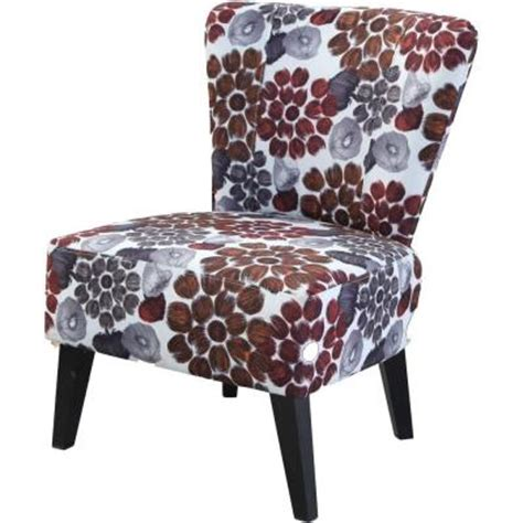 fabric accent chair in orange flower c 050 the home depot