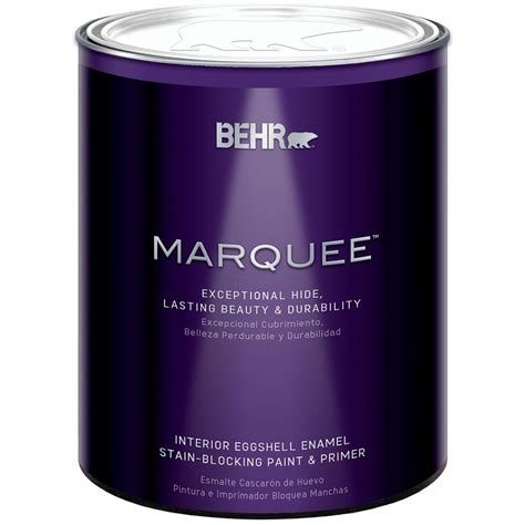 behr marquee 1 qt ultra white eggshell enamel interior paint with primer 245004 the home