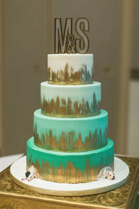 Teal Mint And Gold Modern Wedding Cakes And Dessert