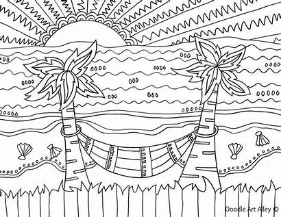 Coloring Pages Beach Sunset Simple Decoration Printable