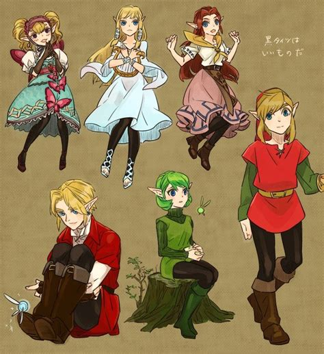 Zelda Characters Sheet With Black Tights
