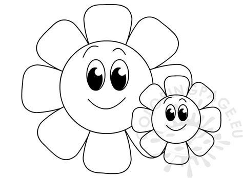 big  small flowers printable coloring page