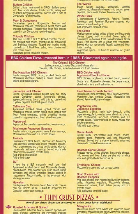 california kitchen menu menu for california pizza kitchen in palo alto