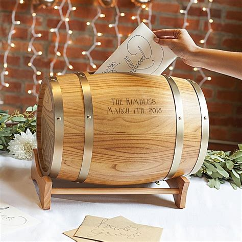 Wood Wine Barrel Gift Cards Holder Personalized Wine