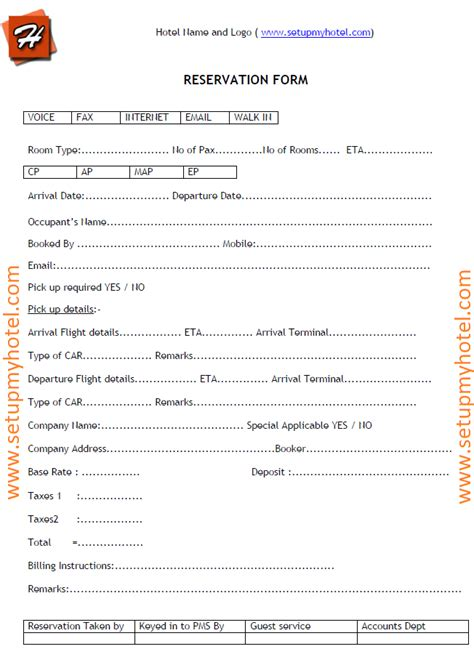 Accommodation Booking Form Template by Reservation Form Sle For Jotting Booking Details