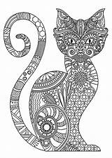 Coloring Cat Pages Adults Cats Complex Halloween Patterns Printable Pattern Sheets Pumpkin Elegant Coloriage Chat Difficile Flower Animal Cartoon Christmas sketch template
