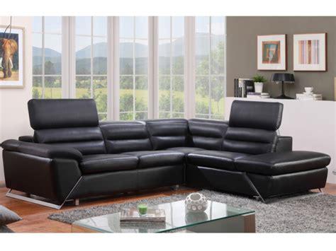 canapé angle gauche ou droit canapé d 39 angle gauche ou droit en cuir noir fergus