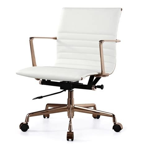 meelano m346 office chair in gold and white italian