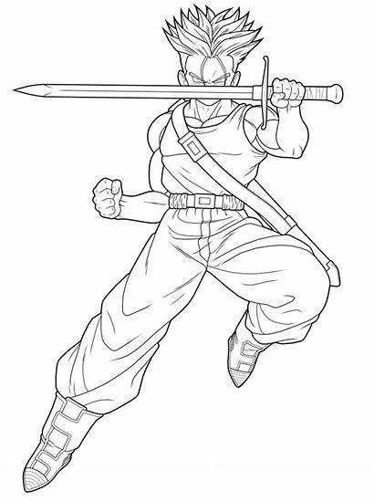 Trunks Dragon Ball Coloring Dibujos Pintar Colorear