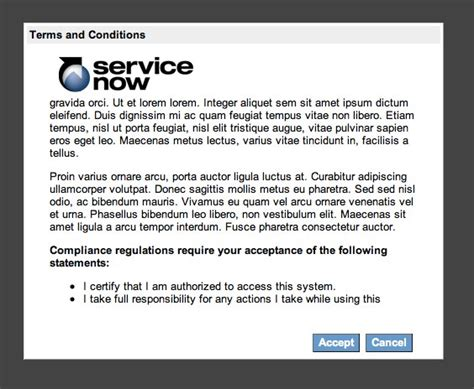 Login Terms And Conditions Dialog  Servicenow Guru