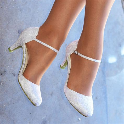 ladies white lace ankle strap pumps womens  heel bridal