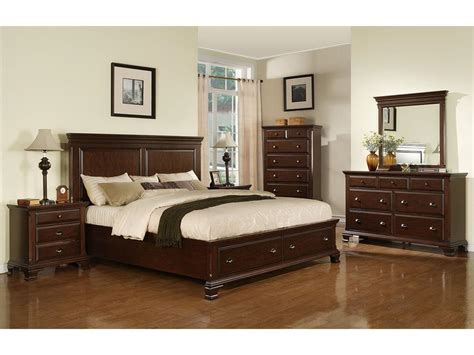 Bed Sets by Elements International Bedroom Canton Cherry Storage Bed