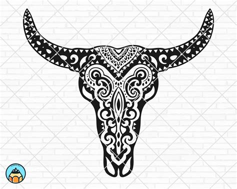 3d sugar skull svg papercut svg mandala 3d #scanncut #svgfilesforcricut #silhouette #designfortshirt #papercutbundle #papercutmandala #papercutzentanglesvg #mandala #svgmandala #3dmandala. Cow Skull Mandala SVG - HotSVG.com
