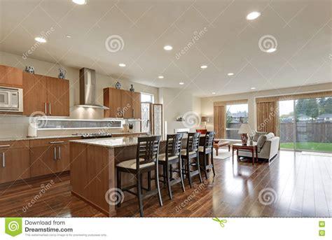 modern open plan kitchen designs bright modern open plan kitchen room interior stock photo 9253