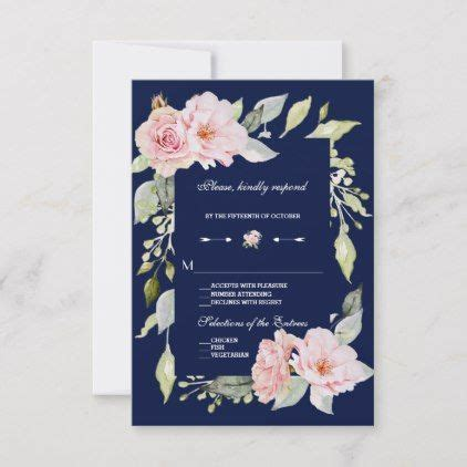 Blush Pink Floral Bloom Navy Blue Wedding RSVP Zazzle